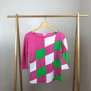 Lilly Pulitzer • Argyle Asymmetric Sweater Small